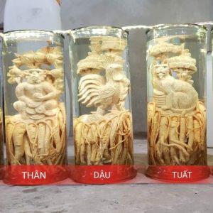 Tuổi Thân - Đinh lăng điêu khắc 12 con giáp - bình 19 lít