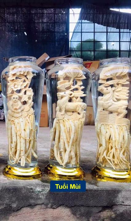 Tuổi Mùi – Đinh lăng điêu khắc 12 con giáp - bình 7 lít