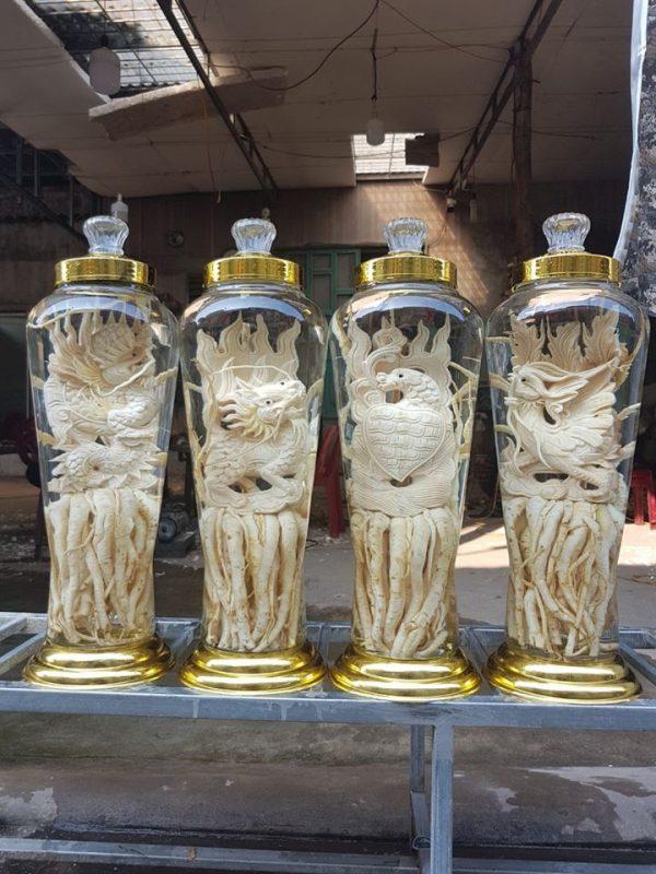 Đinh lăng điêu khắc Tứ Linh - Bình 7 lít