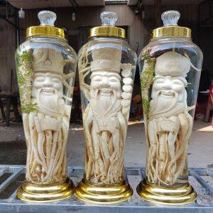 Phúc - Lộc - Thọ - Tam Đa - Đinh lăng điêu khắc - 7 lít